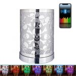 Silver Metal Sculpture Skull Bluetooth Speaker LED