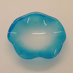 A-D5FB (BLUE) BIG FROSTED GLASS WAVY DISH