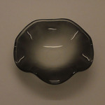 A-D5FBK (BLACK) BIG FROSTED GLASS WAVY DISH